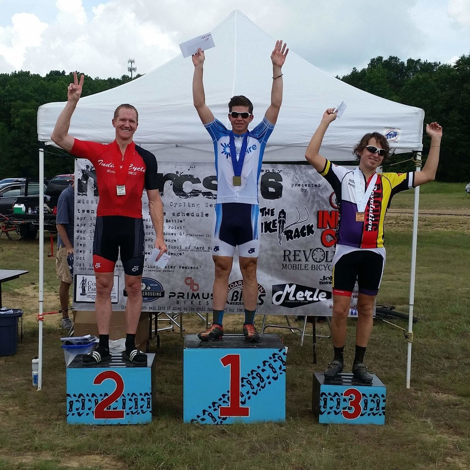 Scott Kuppersmith (center) won the 2016 Mississippi Off-Road Cycling Series state games 24-mile bike race last Sunday at Butts Park in Jackson, Miss.
