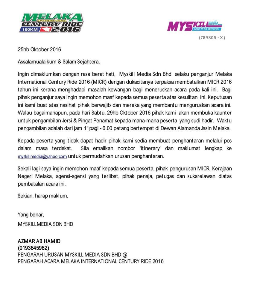 Melaka International Century Ride organisers have cancelled the ride just 5 days before the event on Oct 30th. (Facebook/Melaka International Century Ride)