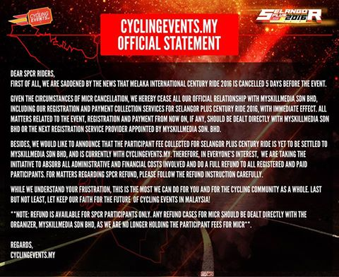 An online registration portal, Cycling Events have offered refunds for the Selangor Plus Century Ride held by the same organisers.  (Facebook/Cycling Events.my)