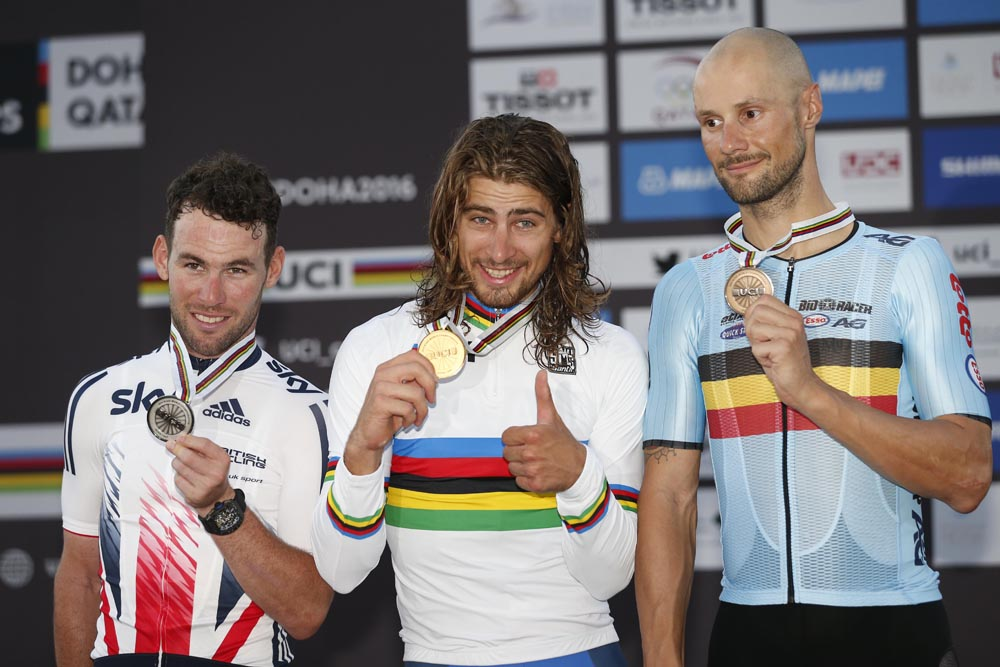 Podium of the 2016 Road World Championships in Qatar. Peter Sagan (SVK) flanked by Mark Cavendish (GBR) and Tom Boonen (BEL). (Yuzuru SUNADA)