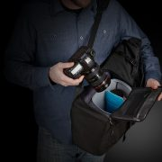 Fits up to prosumer DSLR body with attached ultra-wide-angle lens.