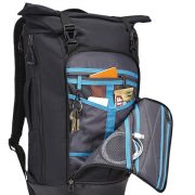 Personal organization for smaller accessories comprised of multiple storage pockets and key fob.