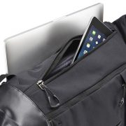 Two-way acccess to laptop and tablet through top-loading compartment or side zipper.